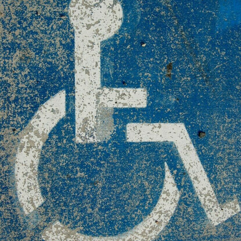 blue and white disable logo